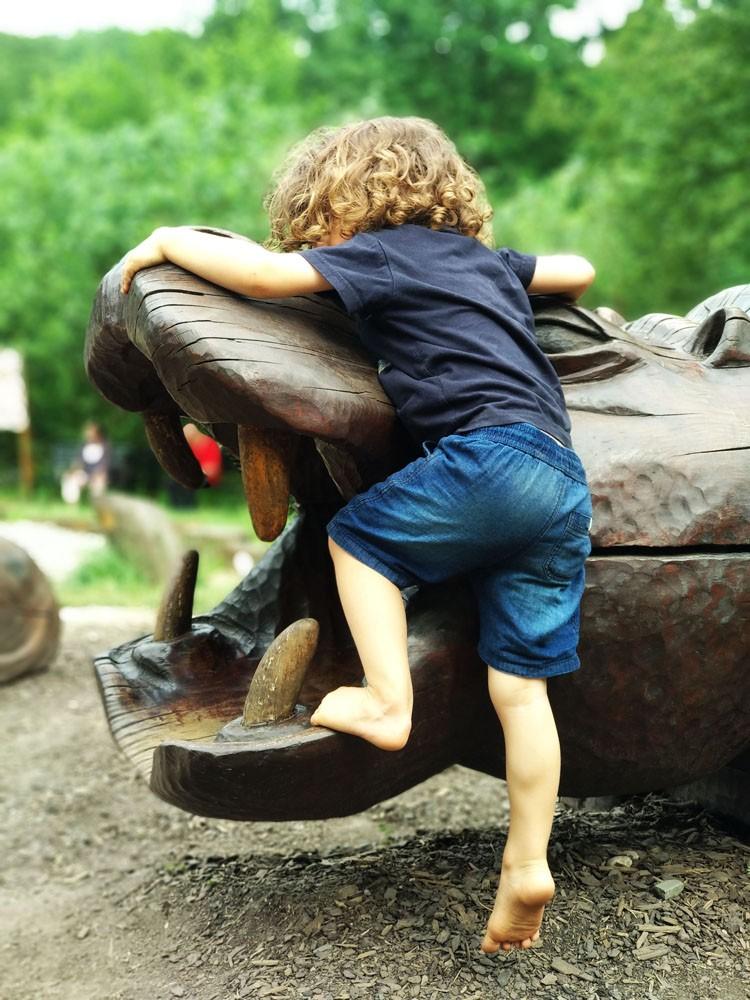 dziecko na bosaka wspina się na hipopotama na placu zabaw